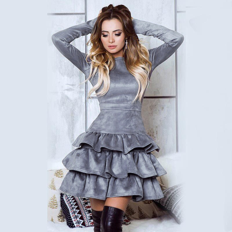 SORCHIDF Women's Ruffles Dress 2017 Autumn Winter Long Sleeve Cake Dresses Casual Mini Dress Ruffled Dress Vestidos Clothing 5