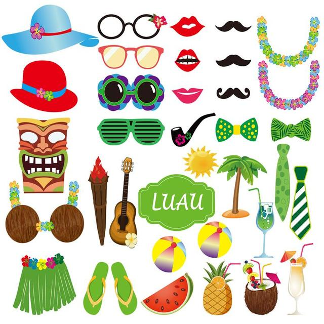 36pcs summer party photo booth props kit diy luau party supplies for