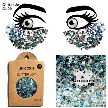 GL09 jedno opakowanie jednorożec do twarzy Chunky Glitter Party Make Up kosmetyczne błyszczy ciała karnawał Decor tanie i dobre opinie GlitterJoy 1 Pack Farba ciała