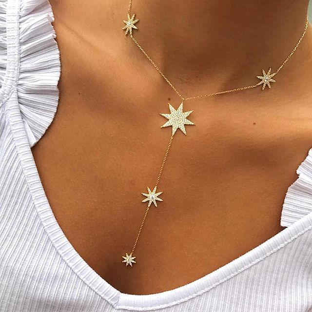 New Arrived Sparking Star Charm Y Shape Long Lariat Link Chain Necklaces For Sexy Women Gold Color Fashion Wedding Jewelry Gifts