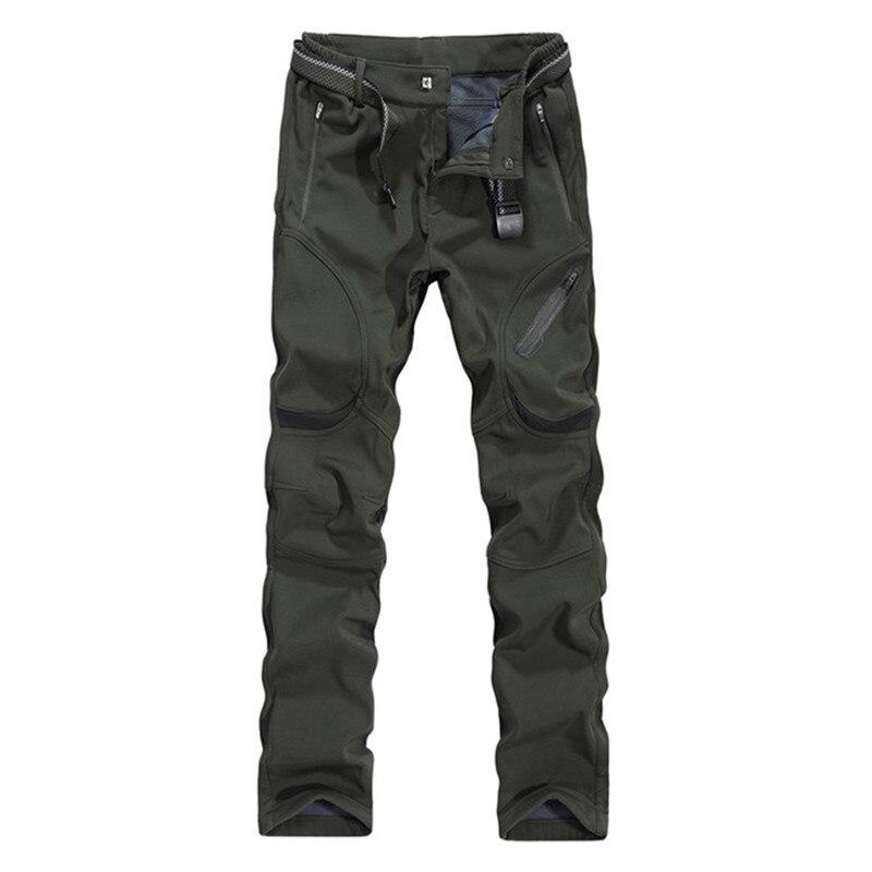 AmberHeard Autumn Winter Men Pants Fashion Soft Shell Waterproof Windproof Fleece Trousers For Male Sweatpants Plus Size L 9XL
