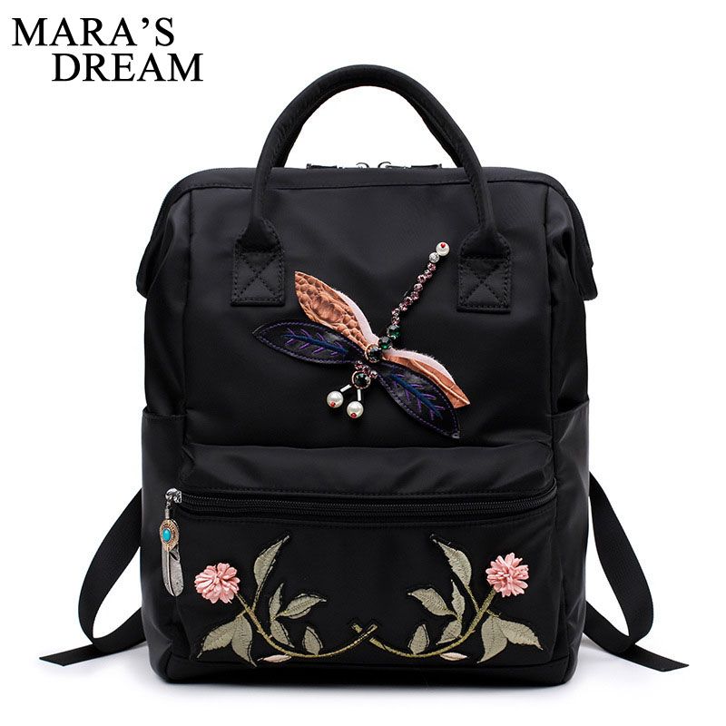 Maras Dream 2018 Large Capacity Multifunctional Nylon Women Backpack Embroidery Flower Back Pack Animal Pattern School Backpack