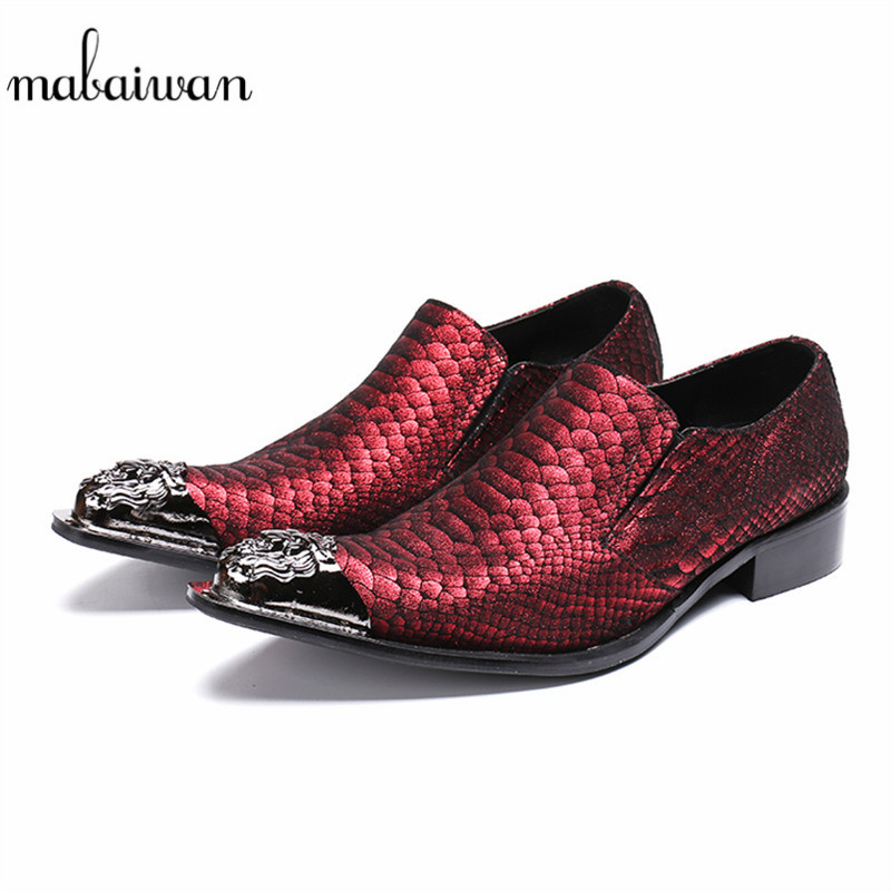 Mabaiwan Red Luxury Casual Men Shoes Metal Toe Floral Leather Party Wedding Shoes Men Slip On Handmade Banquet Prom Loafers Flat luxury pointed toe rivet casual shoes england designer party and banquet men loafers fashion young man walking street shoes