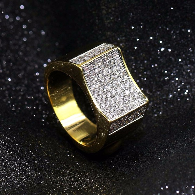 Men's Hip Hop Rings Luxury AAA CZ Rhinestone Gold Color Iced Out Bling Bling Geometric Ring Freestyle Hiphop Rapper Jewelry