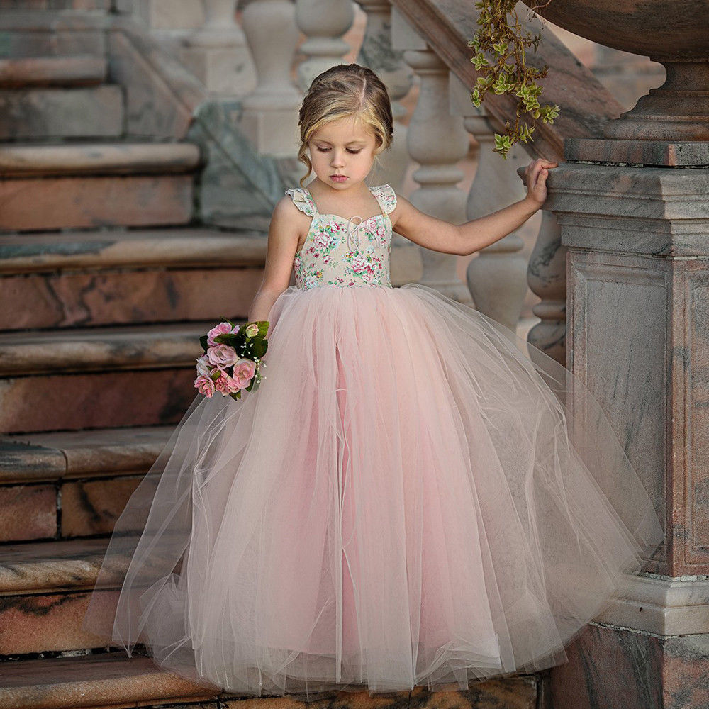 2018 Princess Girl Dress Long Flower Girl Dress Birthday Party Lace Tulle Dress Toddler Baby Girl Ball Gown Sundress