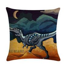 Cartoon Dinosaurs Pillowcase 45X45cm Cotton Linen Cushion Cover Children Gift Throw Pillow Cover For Bedroom Decorate