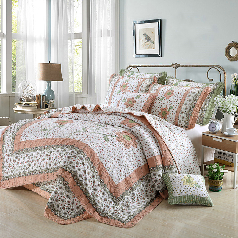 CHAUSUB Cotton Patchwork Quilt Set 4PCS Korean Quilts Quilted Bedspread Bed Cover Duvet Cover Floral Bedding Set Bed Linens