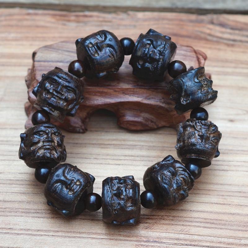 Hand Carved 22mm  Sandalwood Beads All  Sides  Buddha  Mala Bracelet Tibetan Prayer Jewelry for Men
