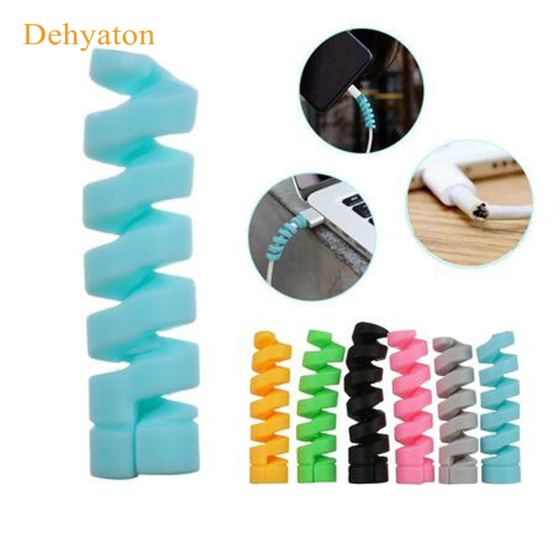 Spiral Cable protector Data Line Silicone Bobbin winder Protective For iphone Samsung