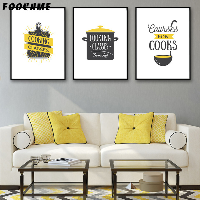 Foocame Cartoon Cooks Cooking Kitchenware Posters And Prints Art Canvas Painting Modern Home Decor Wall Pictures