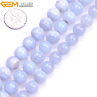 Gem Inside Natural Round Blue Chalcedony Agates Stone Beads For Jewelry Making 6 12mm 15inches DIY