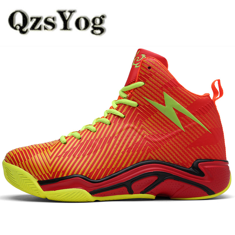 QzsYog Big Size 36-45 Original Professional Basketball Shoes For Men Sports Boots Athletic Trainers Women High Top Sneakers Red