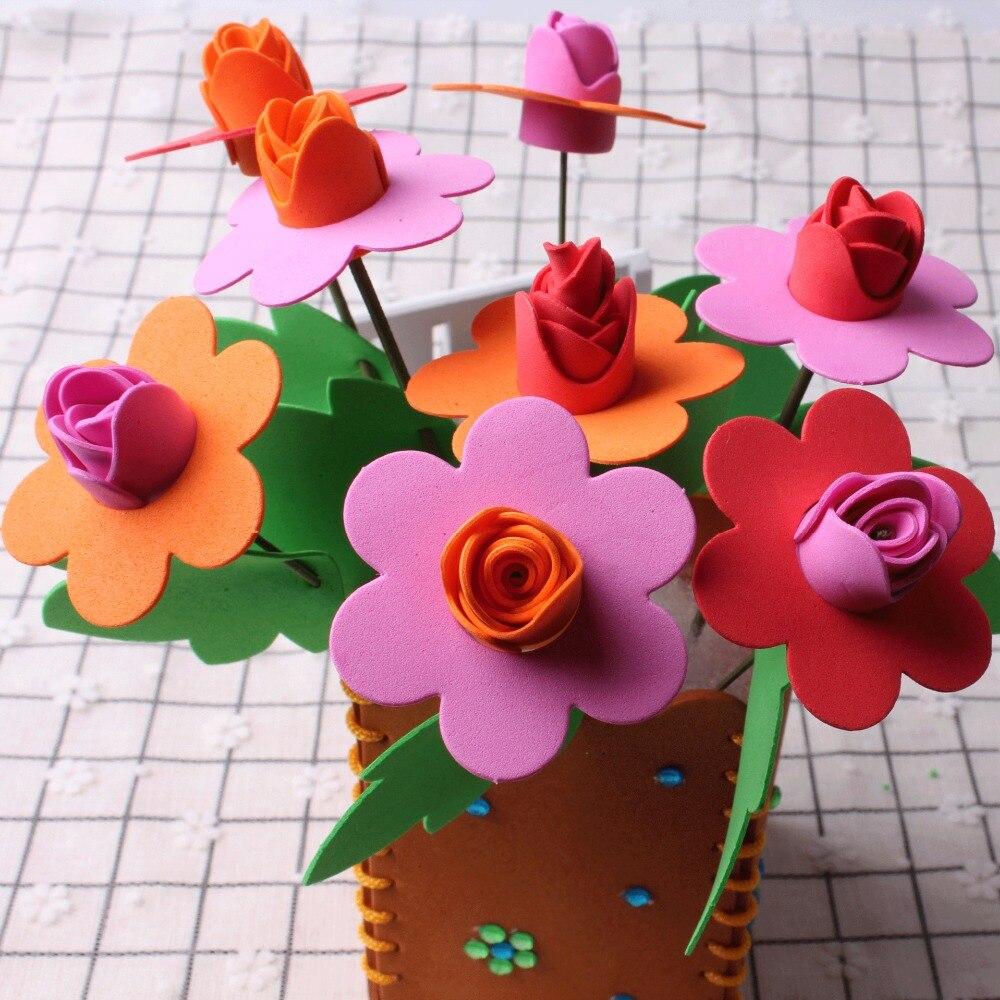 No Free Shipping/ Baby EVA Handmade Flowerpot DIY Material Package Girls Toys Kindergarten Children Creative Material BS51