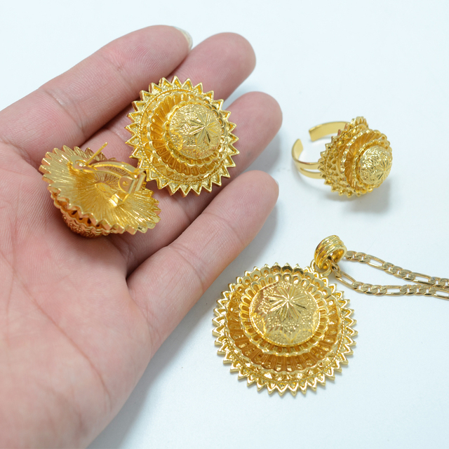 New Ethiopian Jewelry set Gold Plated  Yellow Gold Plated Eritrea set Ethiopia Jewellery Habesha Gold Plated Wedding #000815