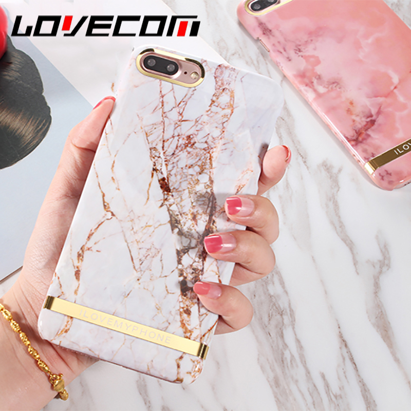 LOVECOM Glossy Marble Phone Case For iPhone 6 6S 7 8 Plus X Fashion Gold Bar Classical Marbles Back Cover Hard PC Cases Hot