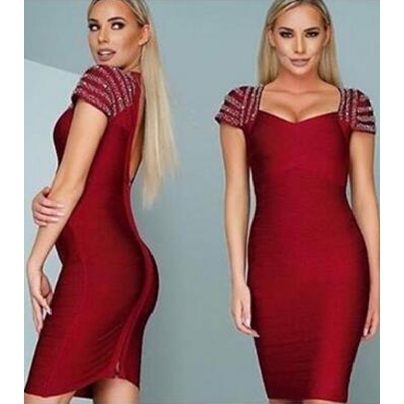 Inspired Shiny Runway Luxury Crystal Beading 2018 New Fashion Sexy Cap Sleeve Party Celebrity Women Bandage Dress Party L 399