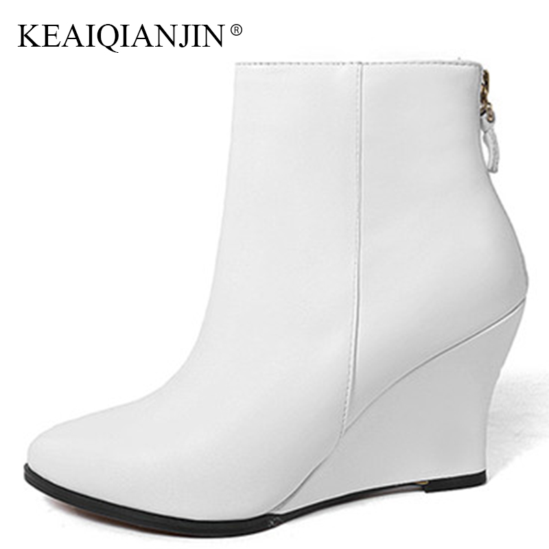 KEAIQIANJIN Winter Autumn Wedges Martin Boots Women White Black Chelsea Boots Plus Size Genuine Leather Zipper High Heeled Boots