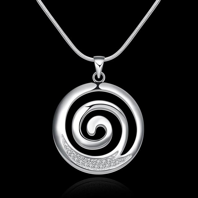 Hot sale fashion 925 pure silver plated aaa zircon round spiral hot sale fashion 925 pure silver plated aaa zircon round spiral pendant necklacefashion silver aloadofball Image collections