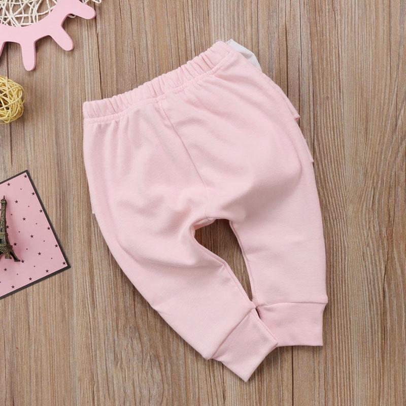 Infant Baby Girl Layered Ruffle Pants Toddler Kid Long Pants Bowknot Casual Bottoms Clothing 8