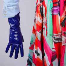 Medium And Long Section Patent Leather Gloves  PU Simulation Bright Mirror Blue Deep 28cm BL04