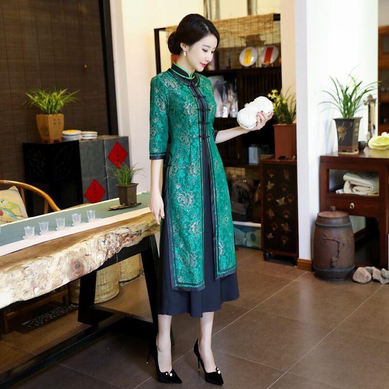 สีเขียวแฟชั่นจีนสตรี2ชิ้นยาวCheongsamมาใหม่ล่าสุดชุดลูกไม้สง่างามบางQipao VestidosขนาดSml XL XXL XXXL 4XL-ใน ชุดเดรส จาก เสื้อผ้าสตรี บน   2