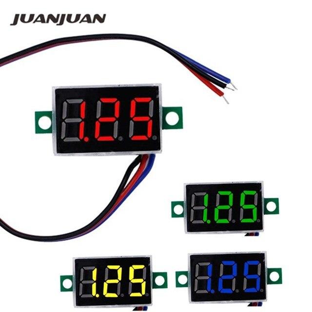 "DC mini 0,36 ""Digital Rote LED Display 0-100 V Voltmeter 3 Drähte Spannung Meter Rot/Grün /blau/gelb für auto batterie test 42% off"