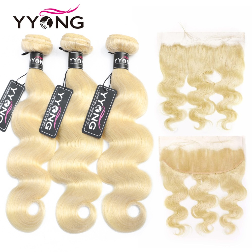 Yyong Brazilian Body Wave 613 Bundles With Frontal Human Hair Blonde Bundles With Closure Remy Lace Frontal With Bundles 4Pc/Lot