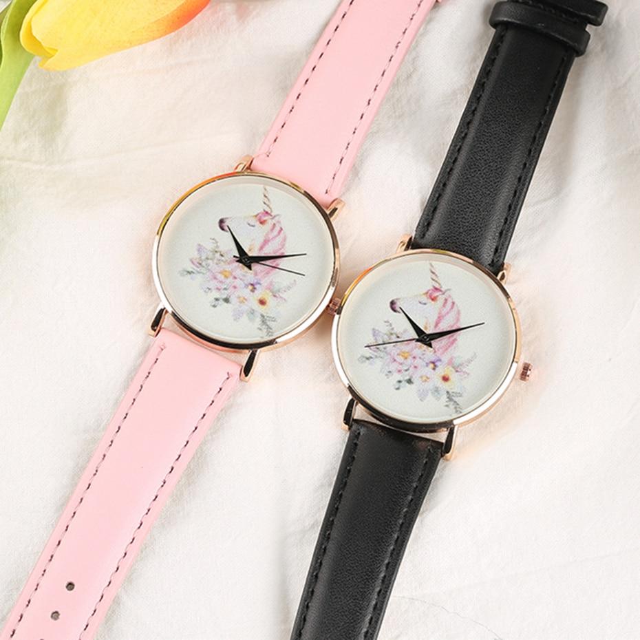 Ladies' Watches White Pink Quartz Unicorn Flower Horloges Vrouwen Women's Rose Gold Wristwatch Montre Femme Dress Watch for Gift white iron pink rose flower glass table