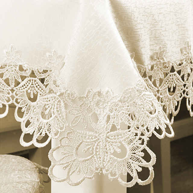 Romantic Ivory Tablecloth – Lace Floral Embroidered Jacquard Satin Cloth