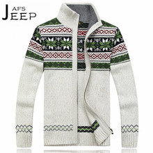 AFS JEEP Patchwork Leisure Cardigan Patchwork Brand Sweater,Thickness Male Motorcycle Knitted Out wear,Man Field Working sweater