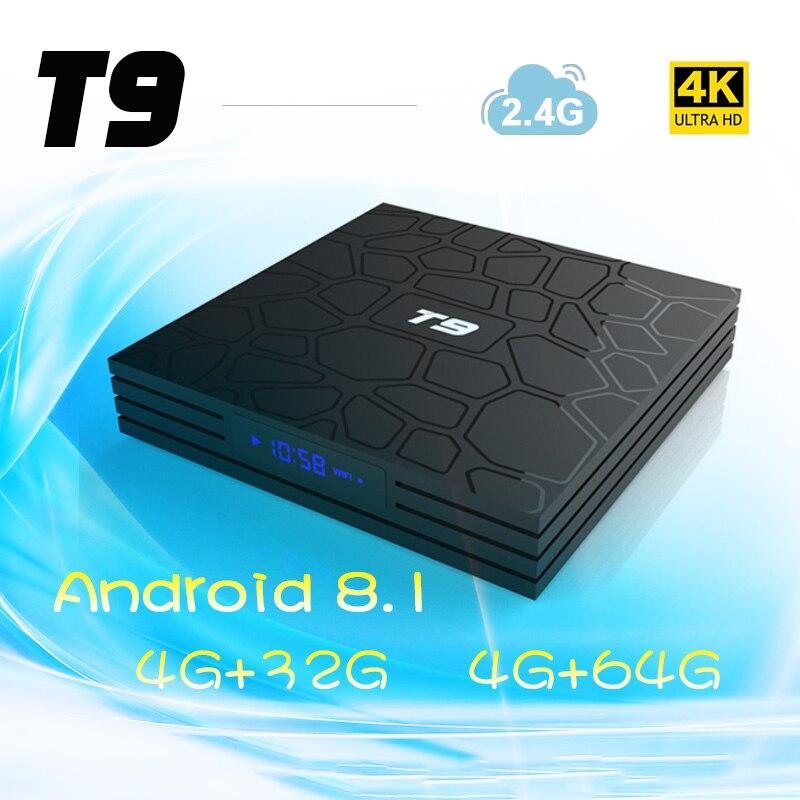 T9 Smart tv box для Android 8,1 4 ГБ 32 ГБ/64 GB Rockchip RK3328 H.265 4 K проигрыватель Google магазине Netflix set top box tv pk h96 max плюс