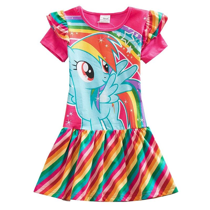 Songge Girls Dress Cartoon Unicorn Childrens Clothing Short Sleeve Princess Dress Little Horse Fashion Dress Kids Clothes