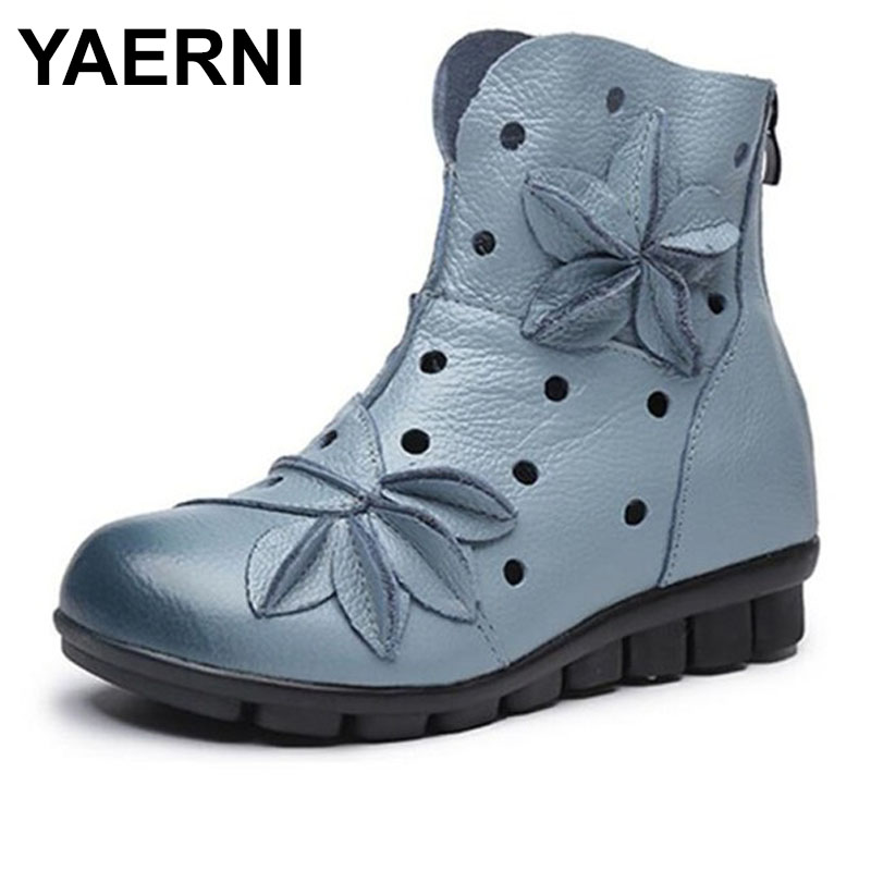 YAERNI 2018 Ethnic style Genuine Leather Flat Hollow Boots Women Comfortable Soft Bottom Hole Shoes Handmade Female Shoes E339 цена