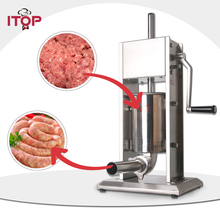 ITOP Manual Stainless Steel Sausage Stuffers Commercial Double Speeds 3L/5L/7L Fillers Food Filling Machine