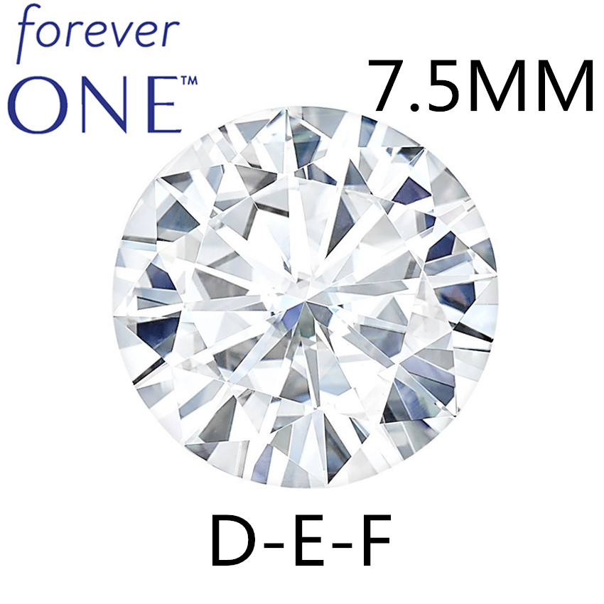 Certified FOREVER ONE Round Cut Loose Moissanite Diamond Stones For Jewelry 7.5mm 1.35CT D E F Colorless VVS VS Positive Testing