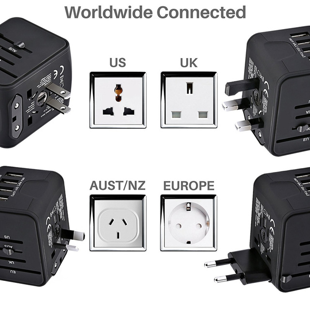 Universal Travel Adapter for International Business Travel – Universal Power Adapter All-in-one with 3.4A 4 USB Worldwide Wall Charger