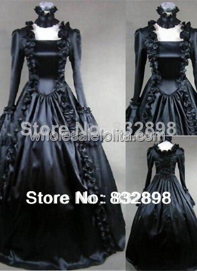 Popolare Puro nero gotico vittoriano dress lunga abbigliamento vittoriano  KU27