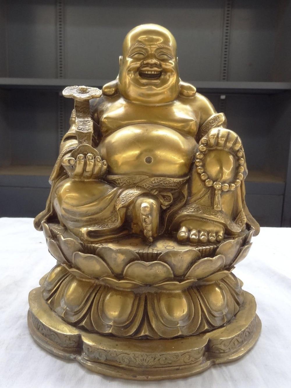 11 Chinese Buddhism Brass Lotus RuYi Happy Laughing Maitreya Buddha Statue11 Chinese Buddhism Brass Lotus RuYi Happy Laughing Maitreya Buddha Statue