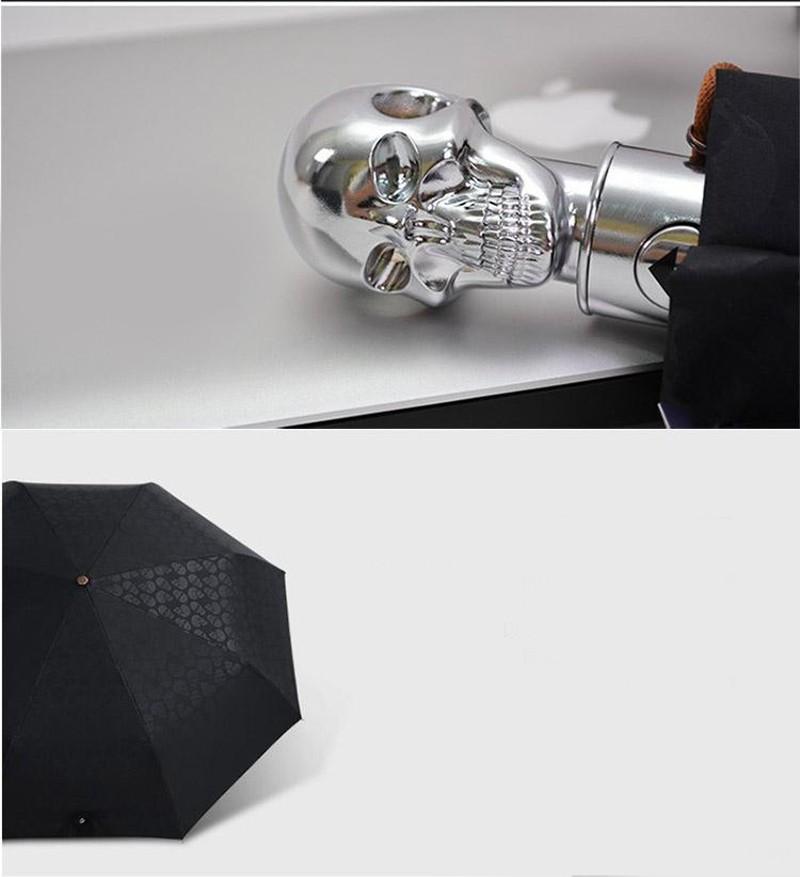 Personality Skull Head Full Automatic Umbrella Luxury Business Male Umbrella Fashion Black Coating Women Rain Sun 3 Folding Umbrella8