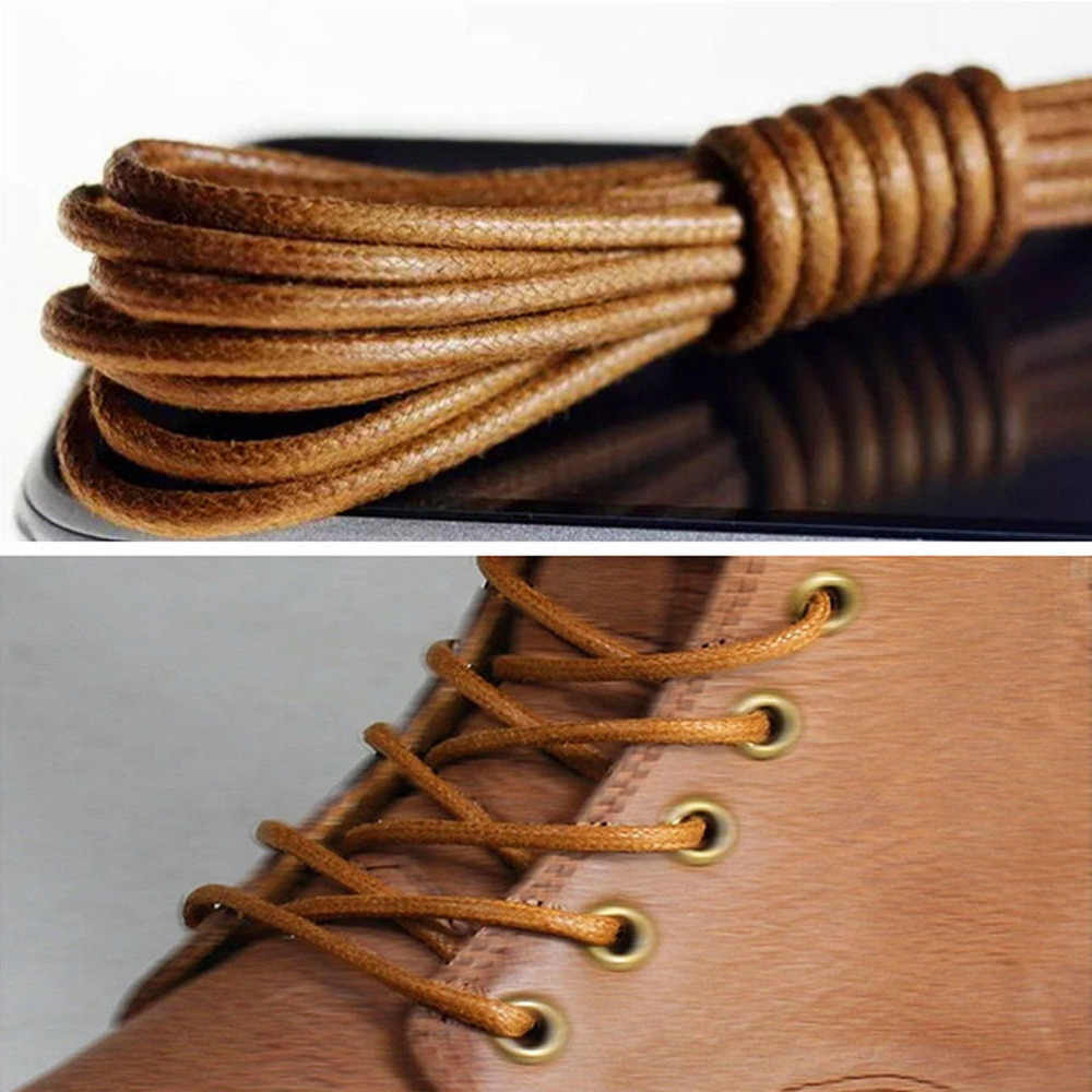 1Pair Waxed Cotton Round Shoe laces Leather Waterproof ShoeLaces Men Martin Boots Shoelace Shoestring Length 70cm