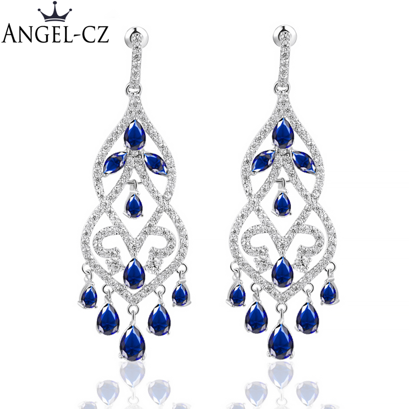 ANGELCZ Merek Telinga Perhiasan Fancy Chandelier Jatuhkan Inlay Royal Blue Austria Kristal Evening Party Earrings Besar Untuk Wanita AE100