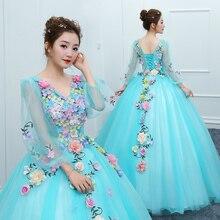 Роскошное Новое блестящее Тюлевое Дешевое маскарадное платье с длинным рукавом Vestido Debutante Applique Quinceanera платье Vestidos De 15 Anos