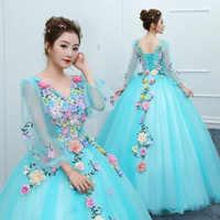 Luxo novo brilhante manga longa tule barato vestido de baile vestido debutante apliques quinceanera vestidos de 15 anos