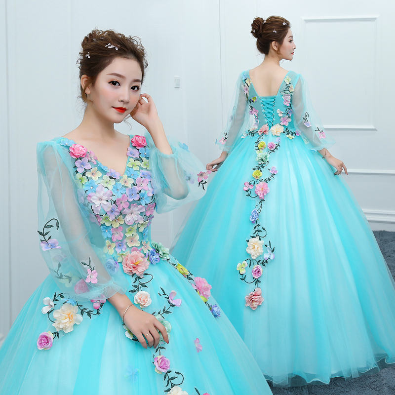 Luxury New Shining Long Sleeve Tulle Cheap Masquerade Dress Vestido Debutante Applique Quinceanera Dress Vestidos De 15 Anos