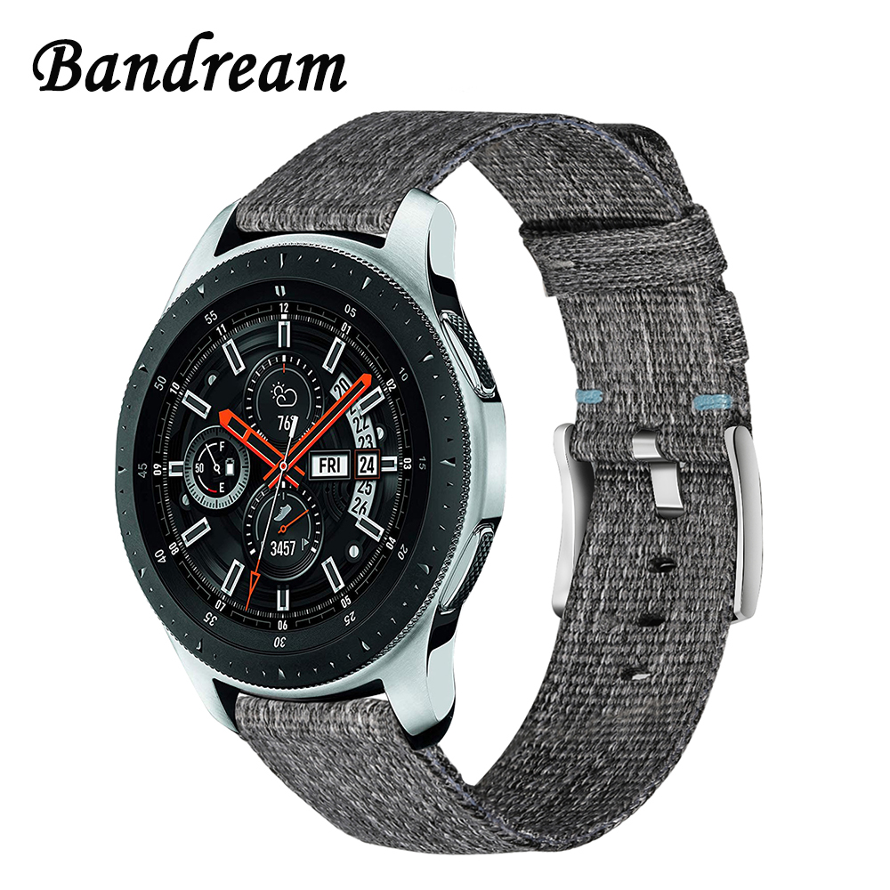 Canvas Nylon Watchband 22mm for Samsung Galaxy Watch 46mm SM-R800 Quick Release Band Steel Clasp Strap Wristband Wrist Bracelet