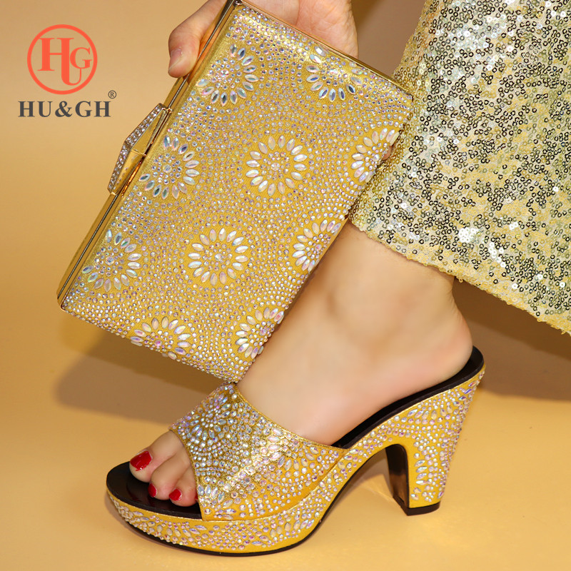 New Golden Italian Shoes with Matching Bags for Wedding Women Shoe and Bag to Match for Party African Nigerian Shoe and Bag Sets hot artist shoes and bag set african sets italian shoes with matching bags high quality women shoes and bag to match set mm1055