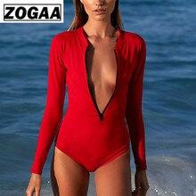 ZOGGA Solid Sexy Skinny Long Sleeve Bodysuit for Women High-quality Polyester with Zipper NO Steel Bracket/Bra