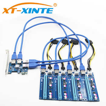 XT-XINTE PCI-E Riser Card USB 3.0 PCIe Port Multiplier Card PCI Express PCIe 1 to 4 PCI-E Adapter Card for BTC Miner Machine