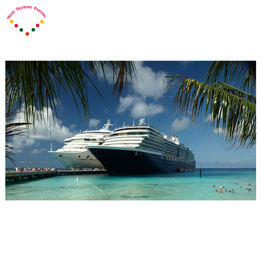 5D diy diamond embroidery stitch crystal decorative diy diamond painting pink scenic sea Super deluxe Mail a cruise ship
