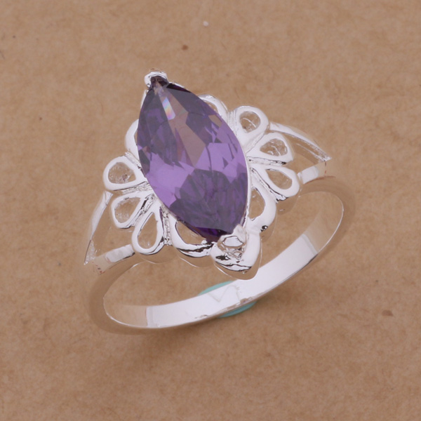 AR149 Hot sale silver plated fine jewelry,Wholesale 925 charm free shipping fashion elegant water drop inlaid purple stone rings